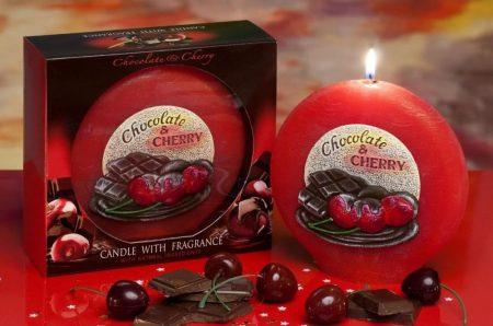 csoki és meggy illatú exkluzív díszgyertya