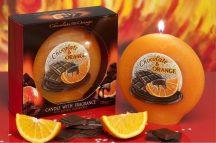 csoki és narancs illatú exkluzív díszgyertya