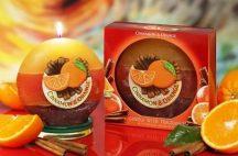 narancs és fahéj illatú különleges díszgyertya