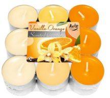 Vanília és narancs illatú teamécses
