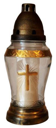 Arany színű kereszttel díszített közepes méretű kegyeleti mécses