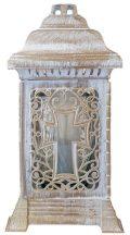 Nagy méretű szögletes fehér színű kegyeleti üveg mécses