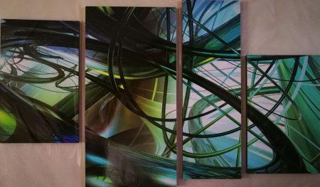Több részes falikép zöld nonfiguratív hullámok