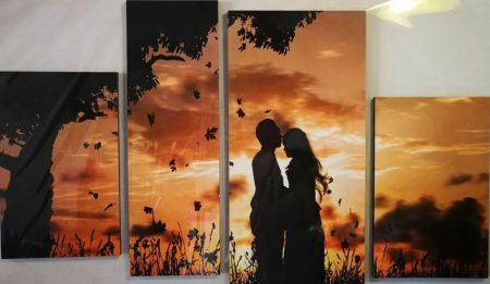 Naplemente, szerelmes pár falikép