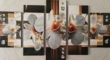 Virágos ötrészes falikép