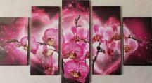 Lila orchidea öt részes kép