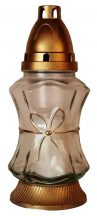 Közepes méretű fehér üveges arany színű masnis díszítésű mécses