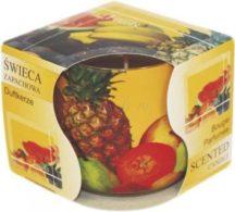 Üvegpoharas illatgyertya trópusi gyümölcs illatban