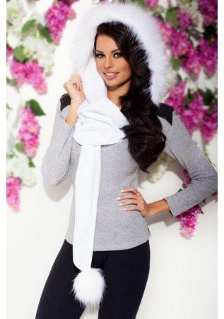 divatos női szőrme sapkasál fehér színben
