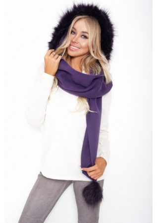 divatos női szőrme sapka sál lila színben