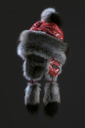 Starling női téli szőrme sapka szürke-piros színben