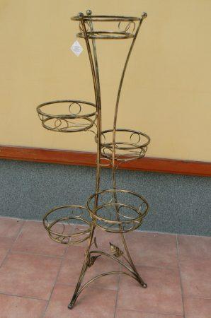 bronz színű fém virágtartó öt férőhelyes