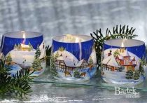 Karácsonyi illatos díszgyertya üvegpohárban