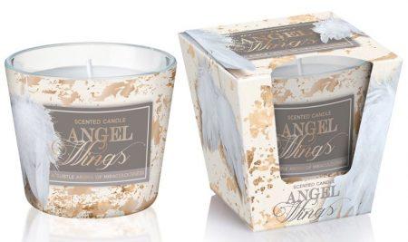Karácsonyi angyalkás illatgyertya mintás üveg pohárban