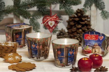 Karácsonyi illatos díszgyertya mintás üveg pohárban
