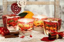 Karácsonyi illatos mintás gyertya mintás üveg pohárban
