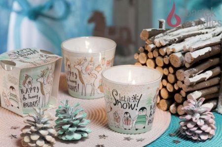 Karácsonyi díszgyertya mintás üveg pohárban