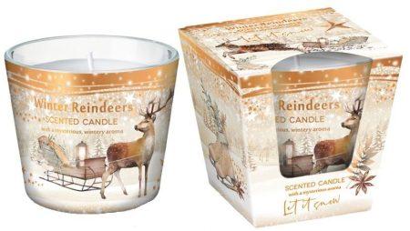 Karácsonyi illatgyertya szarvas mintás üveg pohárban
