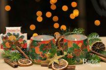 Karácsonyi díszítésű illatos gyertya