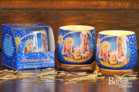 Betlehemes dekorációs illatgyertya üvegpohárban