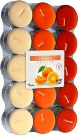 mandarin illatú gyertya narancssárga színben