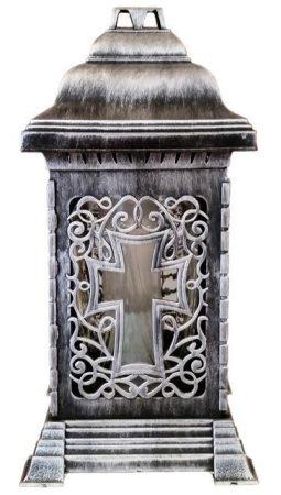 Nagy méretű szögletes ezüst színű kegyeleti üveg mécses
