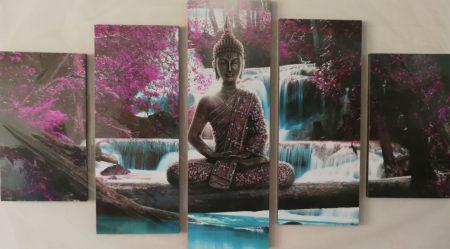 Buddha szobor falikép virágokkal