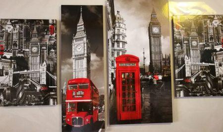Londoni falikép Big Ben, piros fülke