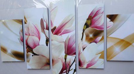 Több részes kép rózsaszín magnólia virágokkal