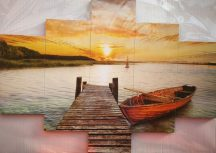 Tóparti kép mólóval csónakkal