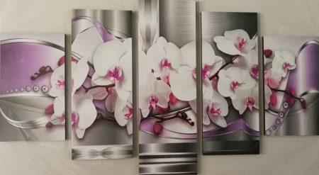 Virágos öt részes falikép