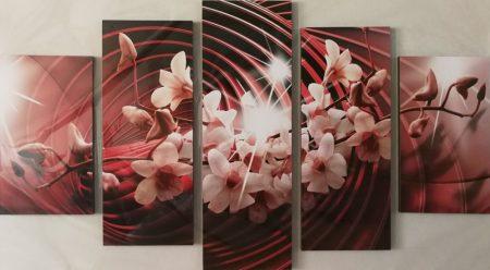 Virágos öt részes kép