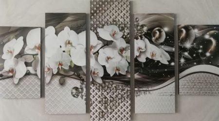 Virágos ötrészes falikép orchidea
