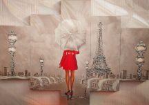 Párizsi falikép Eiffel torony fehér esernyő