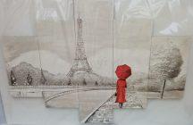 Párizs Eiffel torony, piros esernyő