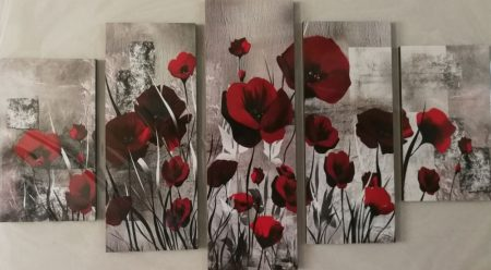 pipacs virágos öt részes kép