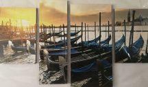 Kikötő csónakokkal öt részes kép