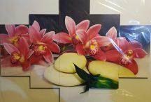 Több részes kép piros virágok