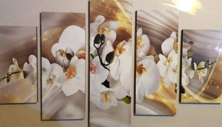 Több részes kép fehér virágok
