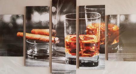 Több részes kép ital és szivar