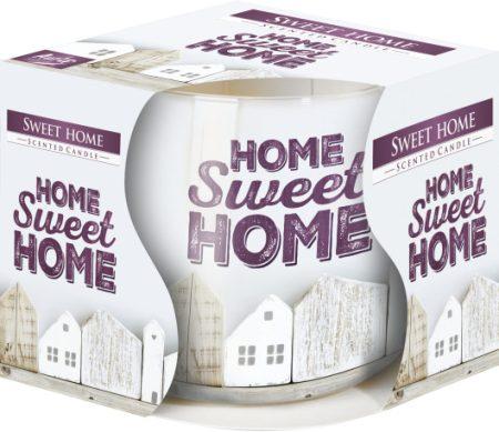 illatgyertya mintás üveg pohárban Home Sweet Home