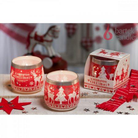 Karácsonyi illatos gyertya üveg pohárban
