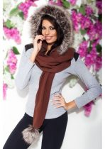 divatos női szőrme sapka sál barna-szürke színben