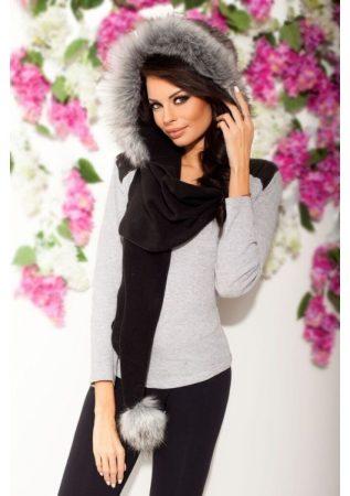 divatos női szőrme sapkasál fekete-szürke színben