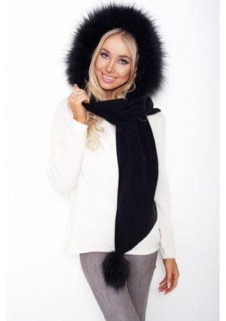 divatos női szőrme sapkasál fekete színben
