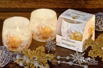 Karácsonyi dísz illatgyertya üvegpohárban